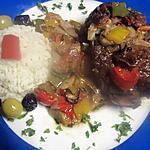 Osso bucco de bœuf aux légumes au four.