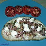 recette Bruschetta lardons, vache qui rit et oignons