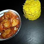recette Riz au curry et lait de coco et ses crevettes panés