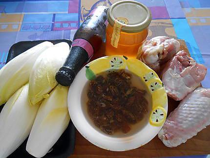 Dinde raisins secs miel et endives braisees 430