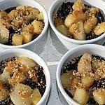 recette Flan choco/vanille/poires/miel/noisettes