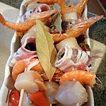 recette Brochettes marinées de fruits de mer