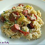 recette Risotto courgette, chorizo et knack