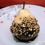 recette poires au chocolat fondu et pépites de nougatine