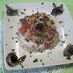 recette Riz aux légumes. Morbier. anchois.