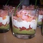 recette Verrine de saumon et sa crème d'avocat