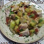 recette courgettes rissolées et cubes de porc.