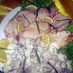 recette Espadon en sauce blanche et champignons.