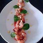 salade fraiche de crevettes et tomates séchées, touche de lemon curd