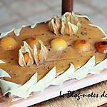 recette Entremet chocolat, passion aux abricots caramélisés, parfums vanille et tonka