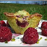 recette variation autour des muffins à la pistache :Muffins pistache et framboise ou coeur de chocolat fondant