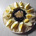 recette Salade de riz, thon, œufs durs,œufs de lump