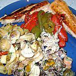 saumon , fruits de mer aux poivrons( merci nadine )