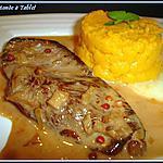 filet de canard sauce aux baies roses et sa purée de patate douce
