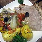 Escalopes de veau à la rigolade de légumes.