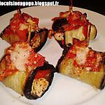 Roulés d'aubergine au poulet paprika herbes de Provence et tomates