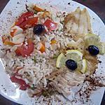 recette riz aux restes accompagner d'un filet de poisson  cabillaud..