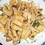recette Rigatoni au poulet et champignons