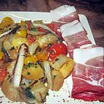 recette Fricassées de légumes au jambon cru fumé.