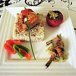 risotto de girolles au saumon et tomate provencale