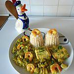 recette Saumonette et sa sauce au curry, crevettes et champignons.