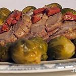 recette Rôti de porc aux choux de bruxelles