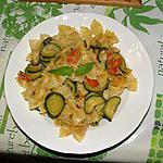 recette Farfalle al tonno, zucchine e pomodori cigliegie ( Papillons au thon, courgettes et tomates cerises)
