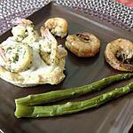 recette Crevettes deux saveurs, sauce champignon dans son bol croustillant