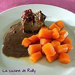 recette Filet mignon, sauce au chocolat et carottes glacées au miel