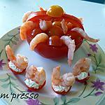 recette Panier de tomates aux crevettes et ses cerisettes