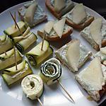 recette canapés : crème de roquefort / poire , roulés de courgette au boursin