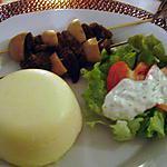 recette Polenta au fromage et brochettes de boeuf sauce tartare maison