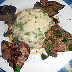 recette Foie de lapin  risotto aux petits pois
