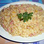 recette RISOTTO  CON  PROSCIUTTO COTTO E PORRI  (jambon cuit et poireaux)