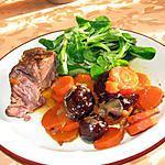 Boeuf braisé, carottes et pruneaux