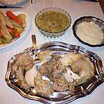 recette Poule farcie, sauce blanche et champignons de Paris