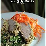 recette ~Filet de porc à la citronnelle avec son sauté de quinoa et sa salade de carottes et de panais~