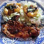 recette cote de porc au miel au four      avec    une idée de tatie les    pommes a  la confiture de rhubarbe