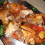 recette Poulet roti garniture paysanne