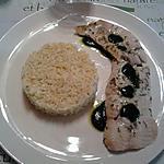 recette saumon à l'estragon et coulis d'épinard avec son  risotto