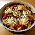 recette Gratin de ravioles, chèvre et tomate