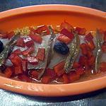 recette Filet de poisson. tomates. poivron. pâtes coquillette. anchois.au micro-ondes.