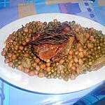 recette FILETTO  DI  MAIALE  ROSMARINO PISELLI  E  CECI (porc au romarin petits pois et pois chiche)