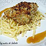 recette Poisson en crumble de pistaches, coulis au chutney de mangue