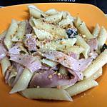 recette Penne rigate jambon fumé-basilic-cacahuètes