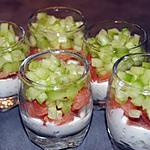 recette Verrines de saumon fumé/concombre