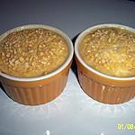 recette petit gratin de fromage blanc 0% et ses delicieux morceaux de pêche/raisin aux amande