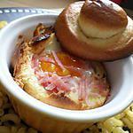 Oeuf cocotte brioché au jambon