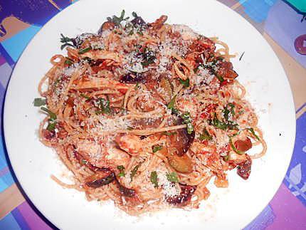 spaghetti  melanzane zucchine e pollo (aubergines courgettes poulet 430