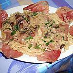 recette SPAGHETTI  FUNGHI  E  PROSCIUTTO CRUDO (champignons et jambon cru)